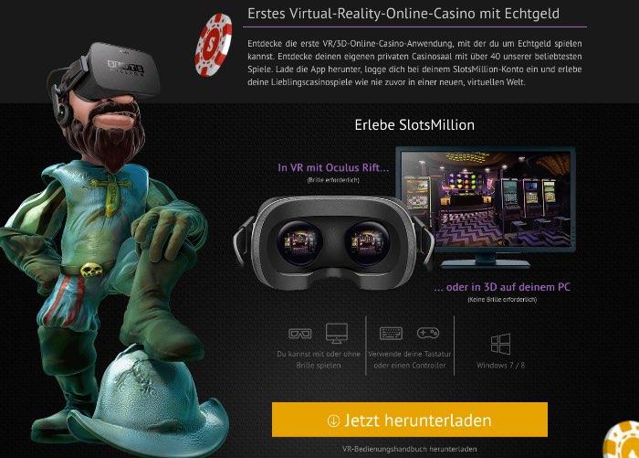 Réalité virtuelle dans le casino en direct SlotsMillion