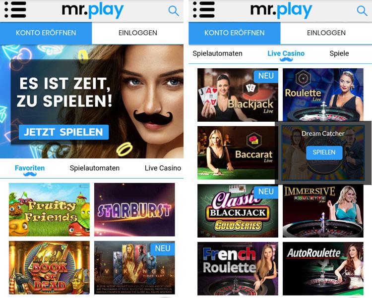 Application Mr Play: grâce à l'application Web, vous pouvez facilement jouer en déplacement