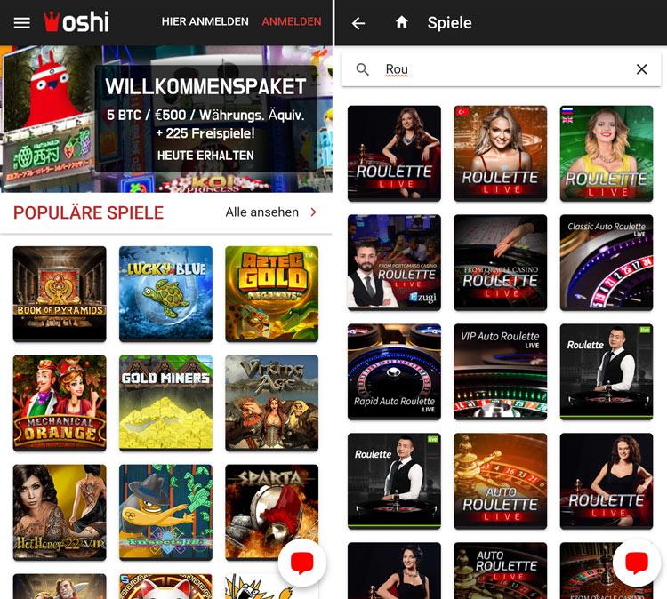 L'application Web Oshi Casino vous invite à jouer en déplacement
