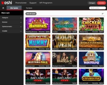 Offre de jeux Oshi Casino