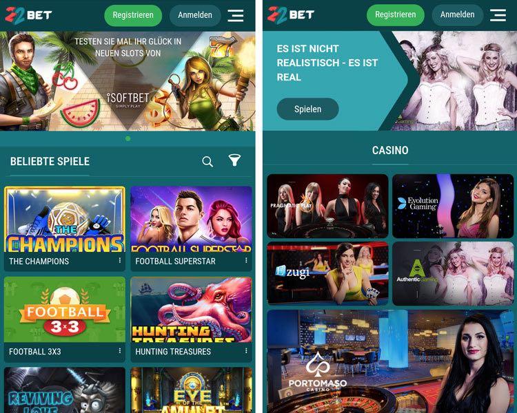 Application de casino 22Bet