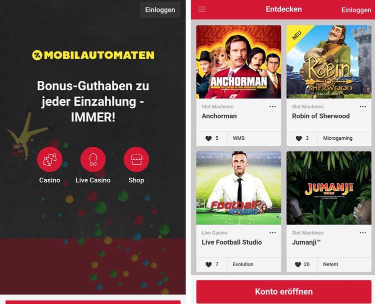 application de machine mobile
