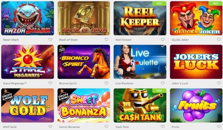 Sélection de jeux Cadoola Casino
