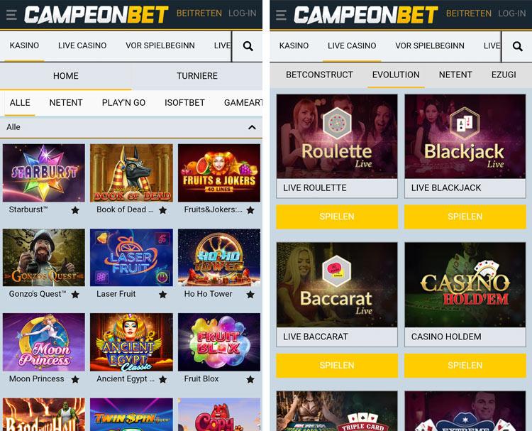 application de casino campeonbet