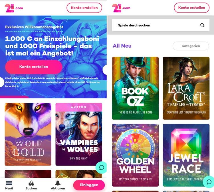 Application de casino 21.com