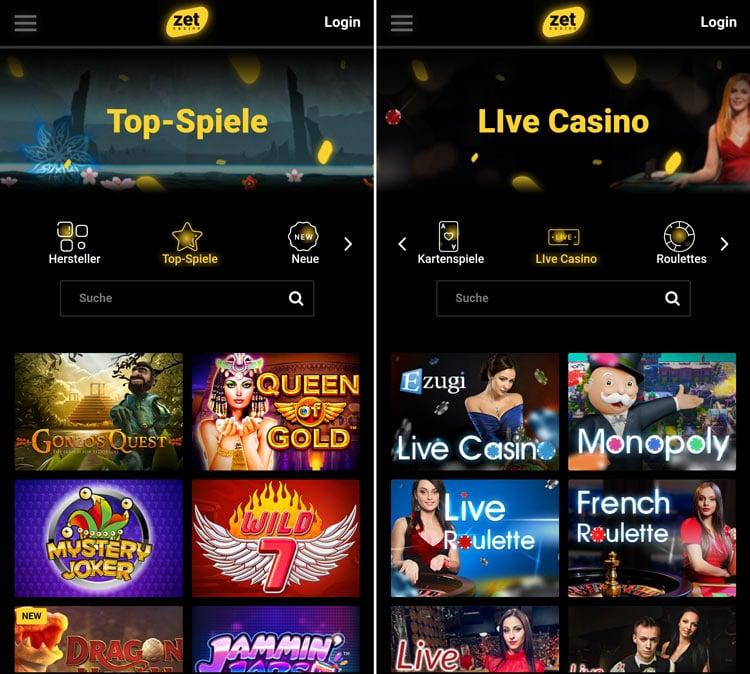 application de casino zet