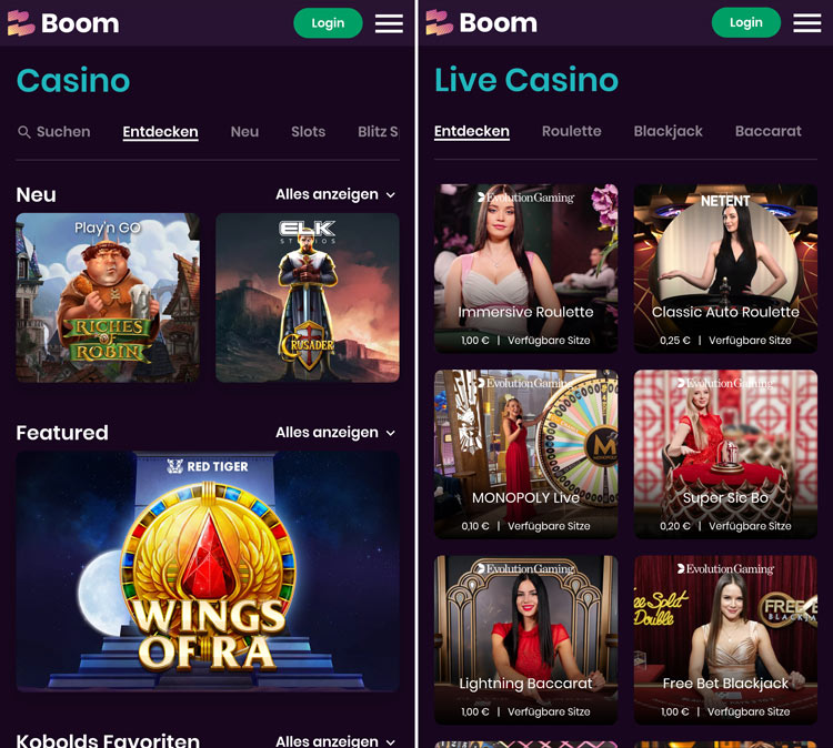 L'application Web Boom Casino permet de jouer en déplacement