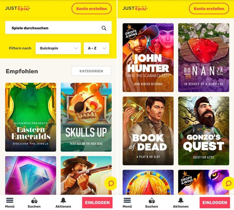 application de casino justspin