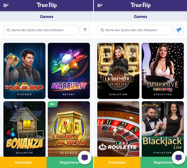 L'application Web TrueFlip Casino fonctionne sur tous les appareils