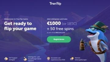 Image bonus TrueFlip Casino pour les nouveaux clients