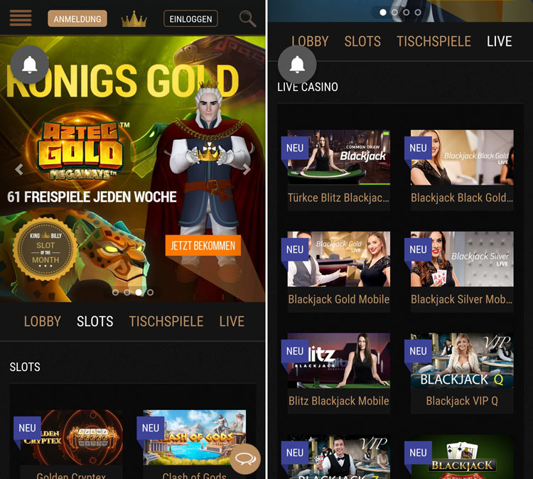 application de casino king billy