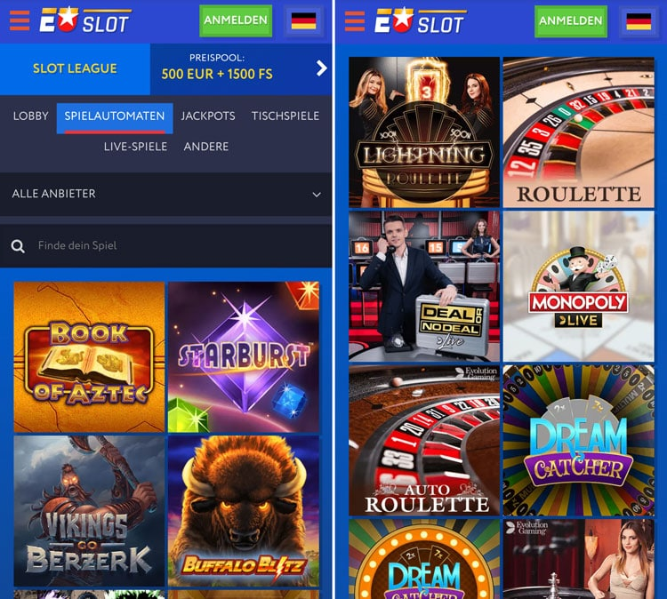 Application mobile Euslot Casino