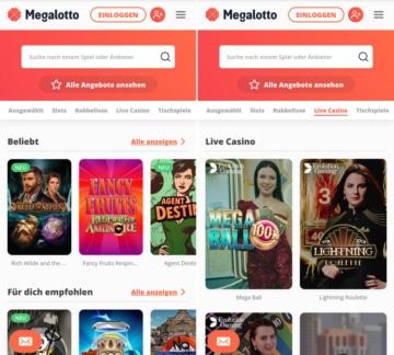 Application du casino Megalotto