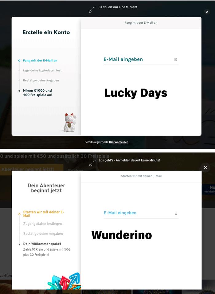 Formulaires d'inscription Wunderino et Lucky Days