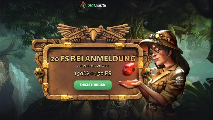 Bonus Casino SlotHunter: 20 tours gratuits exclusifs sans dépôt
