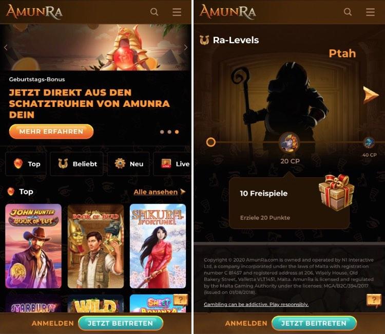 Application de casino AmunRa