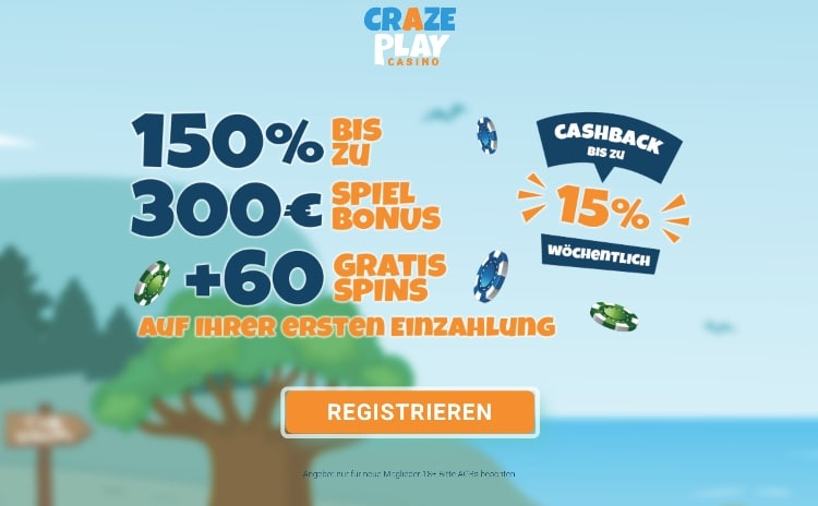 CrazePlay Casino Review: Pour le premier dépôt, il y a un 150% exclusif jusqu'à 300 $; + 60 tours bonus