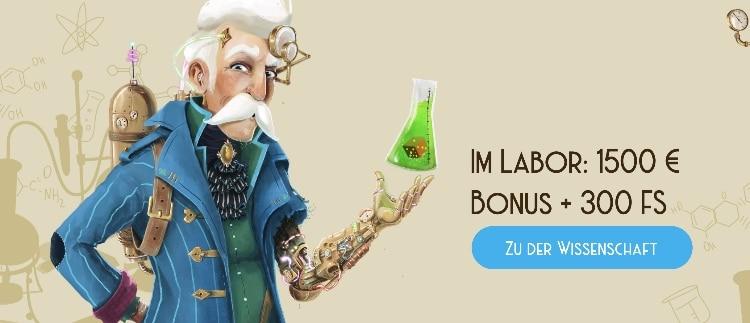 Le bonus de bienvenue dans le Casino Lab est de 1500 $ + 300 tours gratuits