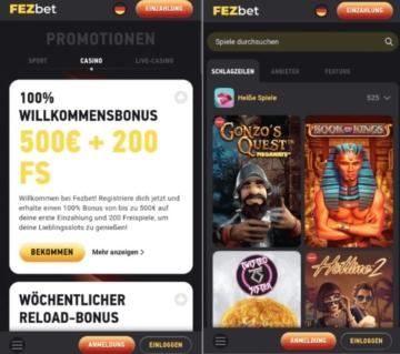 Application de casino FEZBet