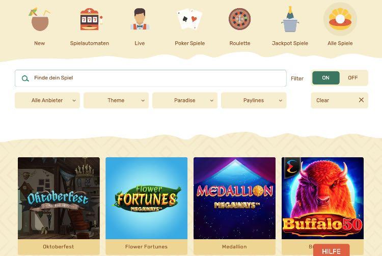 Offre de jeux Paradise Casino