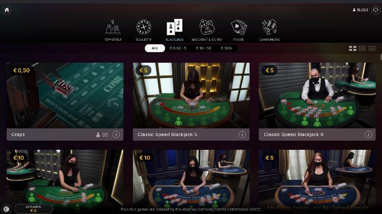Blackjack de casino en direct