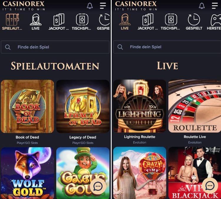 Application CasinoRex