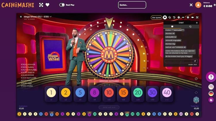 Mega Wheel au CashiMashi Live Casino